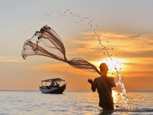 The fisherman at Bira Beach