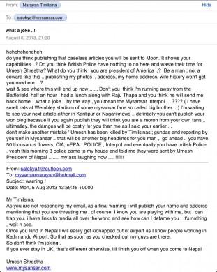 नक्कली शरणार्थी बन्न/बनाउन अनेक थरि नक्कली कागजात बनाउने बानी परेका यिनले मेरो नाममा नक्कली इमेल बनाई आफैले आफैलाई धम्की पठाउन भ्याएछन् (तलको इमेल)
