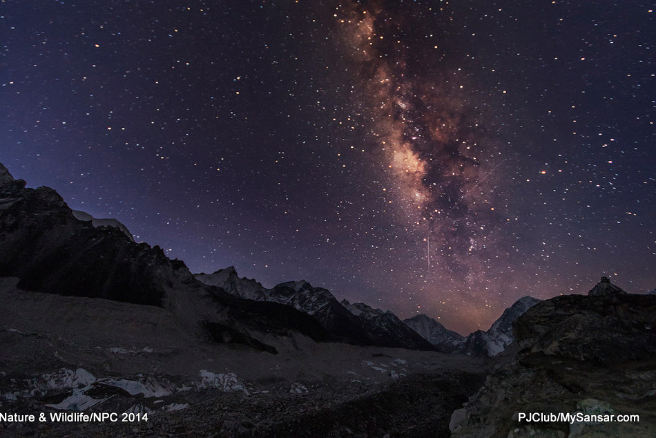 The Milky Way as seen over Khumbu Glacier located in the Khumbu region of northeastern Nepal between Sagarmatha and the Lhotse-Nuptse region. The glacier paves the way to Everest Base Camp and is the world's highest glacier with elevations ranging from 4900m to 7600m at its terminus.  Photo: Dev Dongol