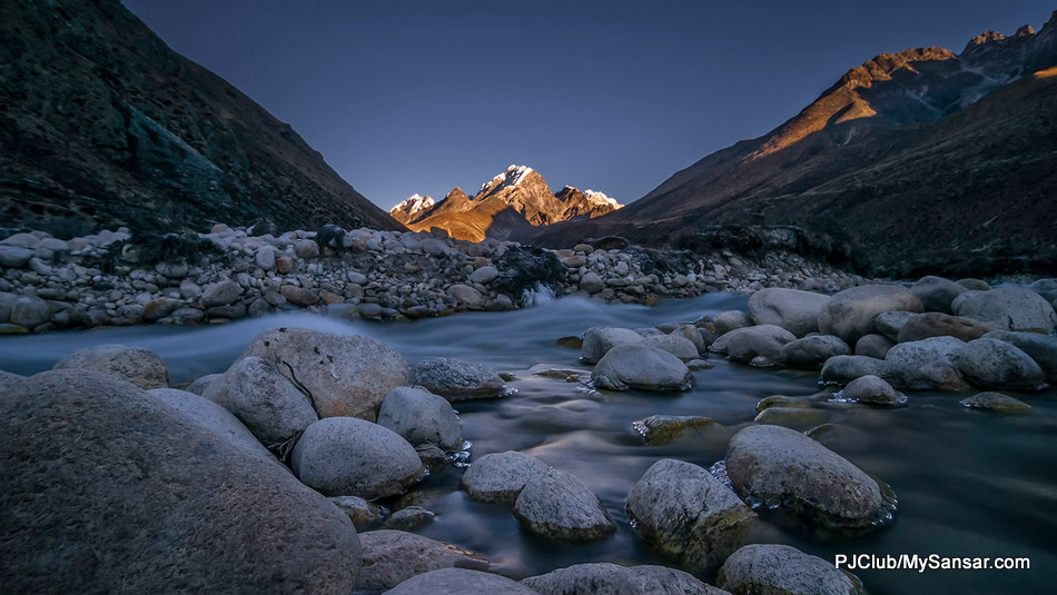 Pheriche Valley in all its glory as dawn sheds its first light. Photo: Birendra Bajracharya