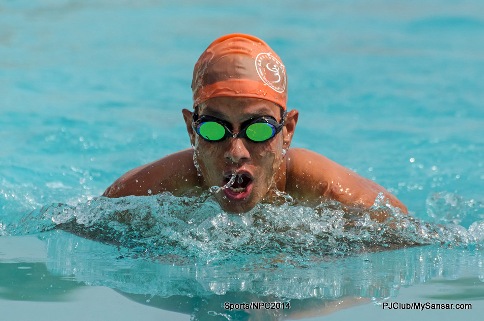 Swimmer Tika Thapa in action during the 17th National Swimming Championship held at Satdobato Swimming Complex. Photo: Sumit Shrestha