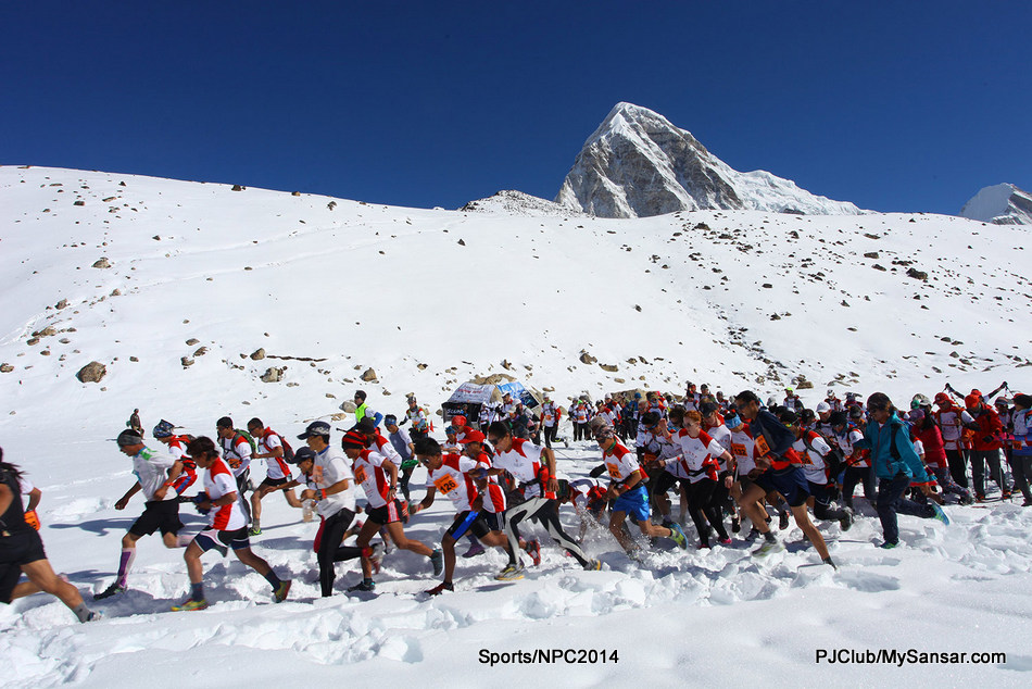 Participants of the Tenzing Hillary Everest Marathon start their race from Gorakshep, near Khumbu Icefall. Nepalis continue to dominate top positions in this annual event, which is needless to say the world's highest altitude marathon. Photo: Sunil Sharma