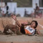 Long jump athlete Keshari Chaudhari in action during the 6th National Games held in Dhangadi, Kailali.  Photo: Bijay Gajmer