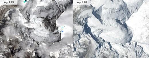 भूकम्पअघि र पछिको सगरमाथाको फोटो : NASA Earth Observatory