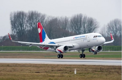 नेपाल एयरलाइन्सको नयाँ  एयरबस ए-३२० जहाज   सौंजन्य- एयरबस न्यूज ।