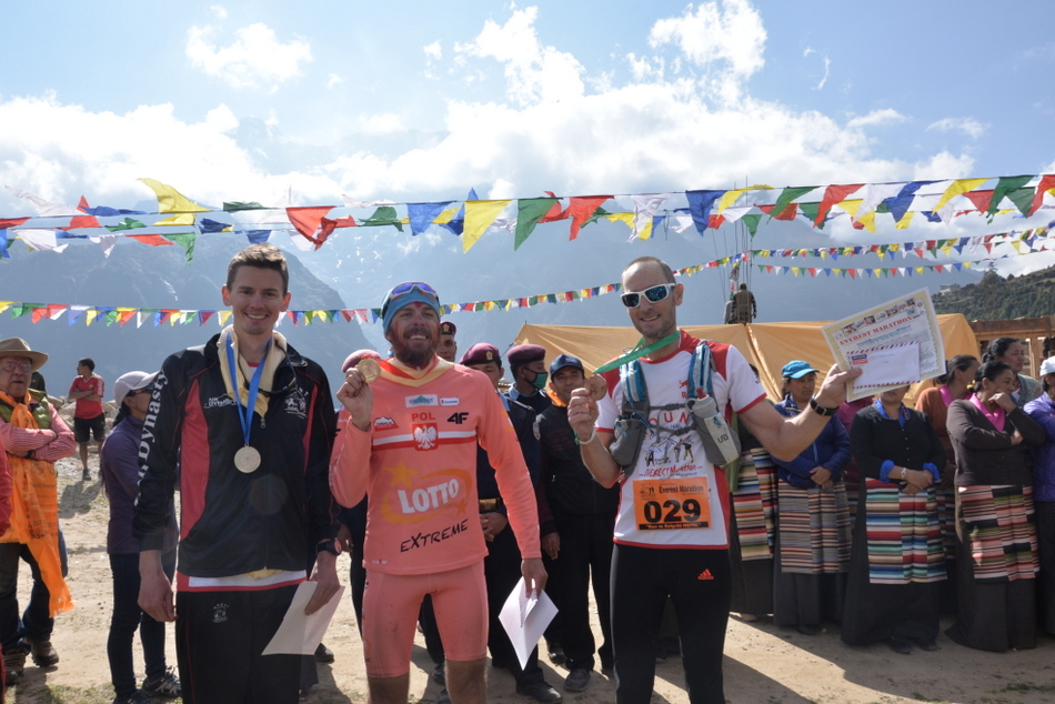 Group photo of the Marathon winners in the foreigners catagory, from left Mr. Leif David Christenses, First Mr Robert Celenski and Third Mr. Daniel Keren