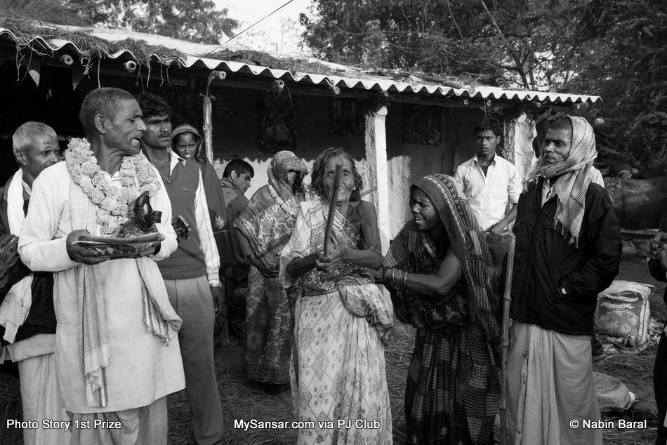 Kanti Yadav, a 103 year old widow from a village of Janakpur  Dristrict, hit herself with as stick as she felt the humilation due to the accusion of being a witch. The Dhami of the same village blames Brikeah Yadav's illness on her.  November 5 2014, Janakpur, Nepal.
