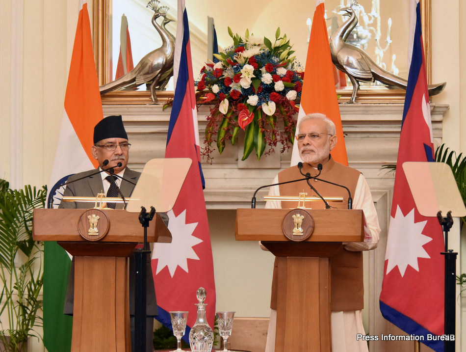 The Prime Minister, Shri Narendra Modi and the Prime Minister of Nepal, Mr. Pushpa Kamal Dahal at the joint media briefing, at Hyderabad House, in New Delhi on September 16, 2016.