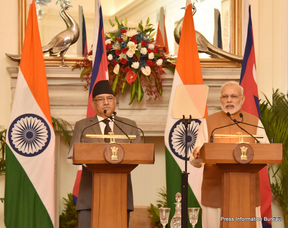 The Prime Minister, Shri Narendra Modi delivering his statement to media, in the joint media briefing with the Prime Minister of Nepal, Mr. Pushpa Kamal Dahal, at Hyderabad House, in New Delhi on September 16, 2016.