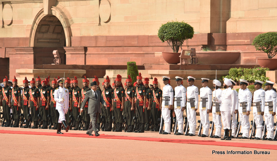 The Prime Minister of Nepal, Mr. Pushpa Kamal Dahal inspecting the Guard of Honour, at the Ceremonial Reception, at Rashtrapati Bhavan, in New Delhi on September 16, 2016.