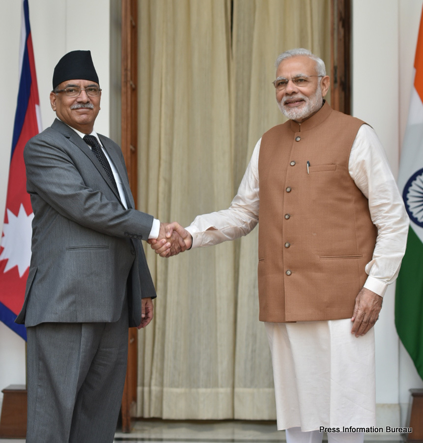 The Prime Minister, Shri Narendra Modi with the Prime Minister of Nepal, Mr. Pushpa Kamal Dahal, at Hyderabad House, in New Delhi on September 16, 2016.